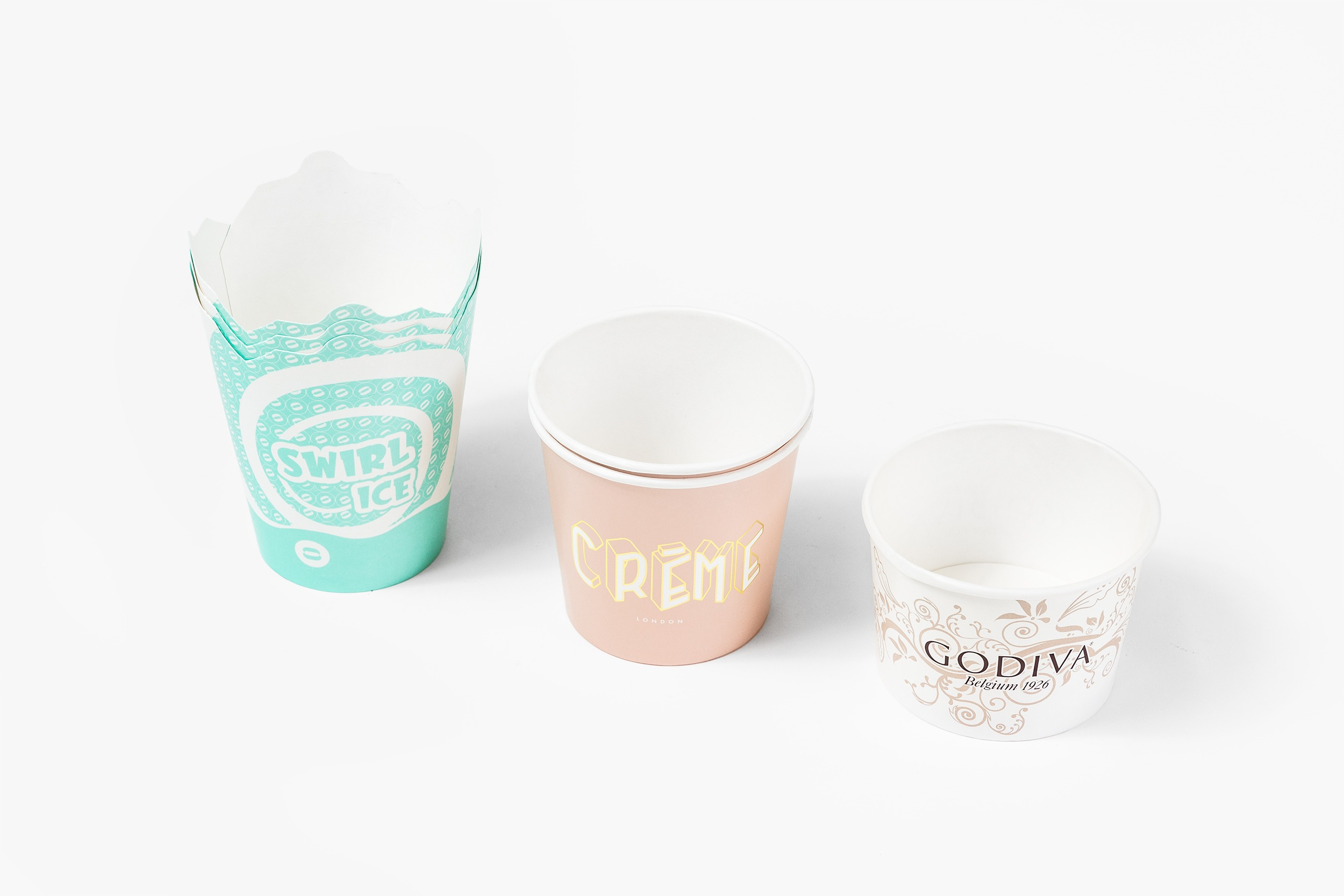 A selection of ice cream pots in different sizes.