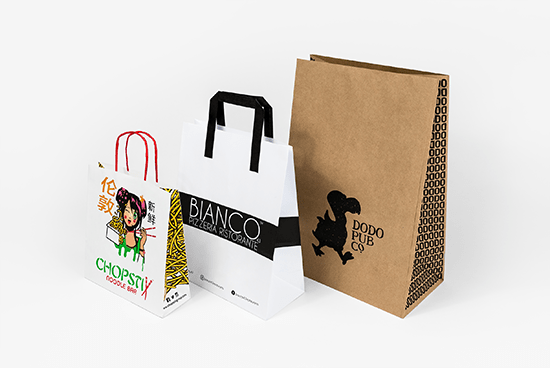 A selection of paper carrier bags, for take-aways. These options feature different sizes and types of print.