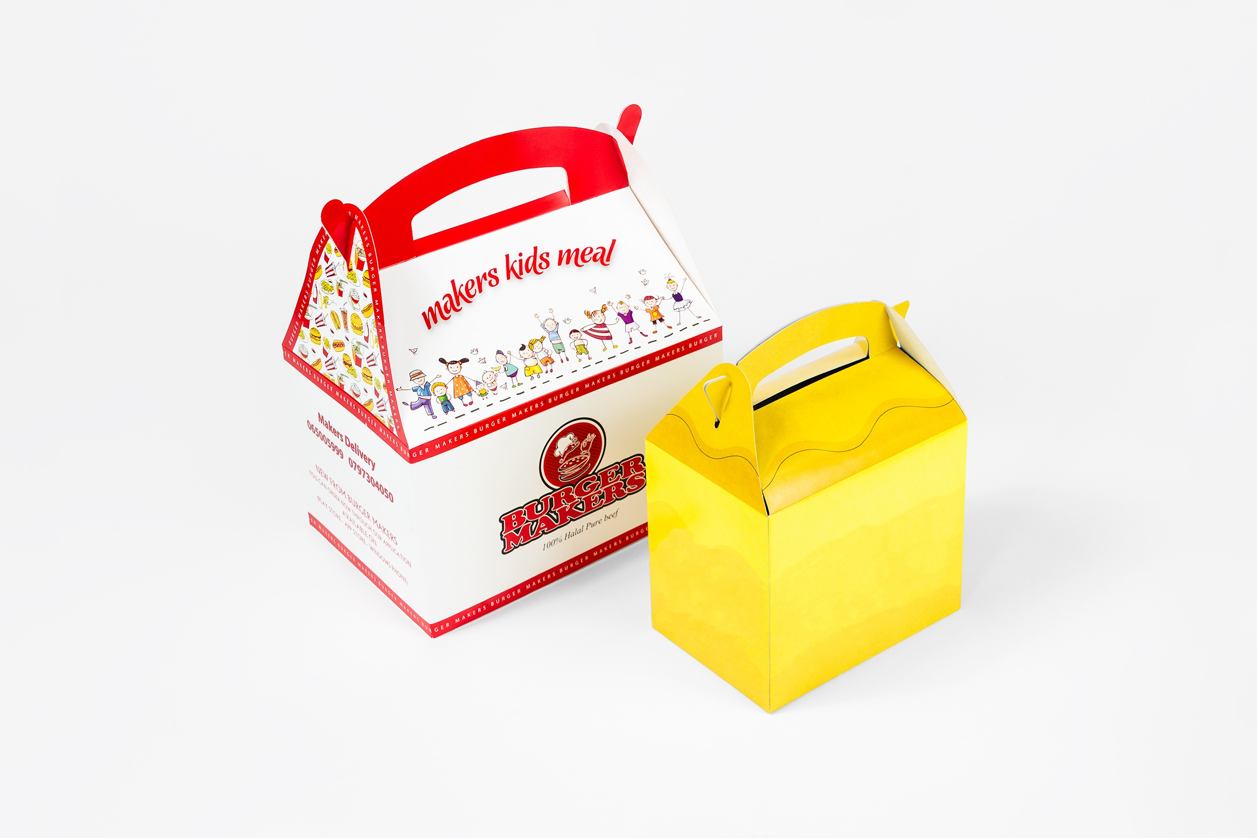 A selection of kids meal boxes, examples shown are of varying styles and sizes. These feature high levels of colour.